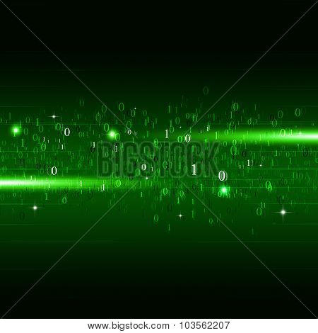 Binary Numbers Green Background