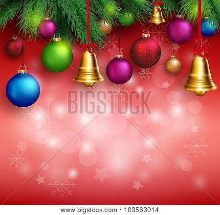 3D Realistic Merry Christmas Background with Hanging