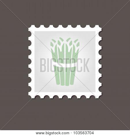 Asparagus stamp. Outline vector illustration
