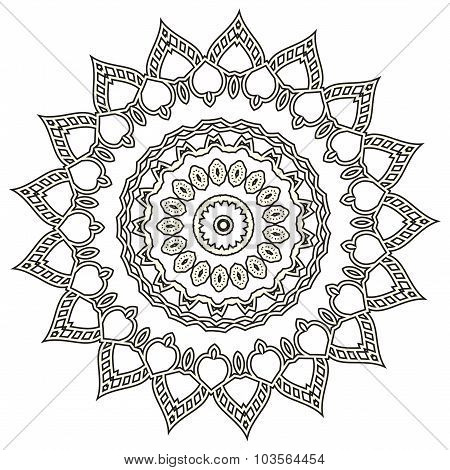 Mandala. Hand drawn ethnic decorative elements. Arabic, Islam,  Indian motifs background. Vector mon
