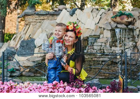 Mother With Her Son Smiling