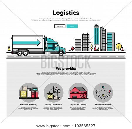 Truck Logistics Flat Line Web Graphics