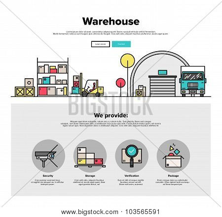 Warehouse Storage Flat Line Web Graphics