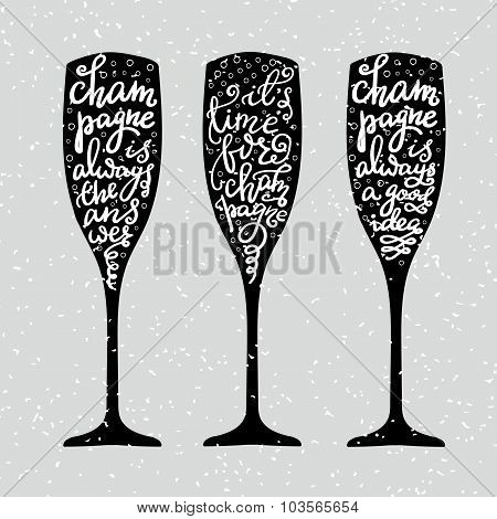 Champagne New Years Lettering