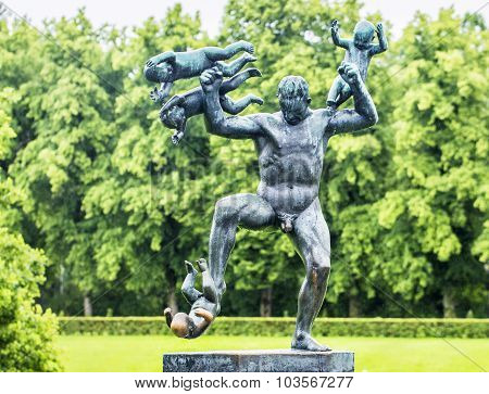 OSLO, NORWAY - JULY 07, 2015: Sculpture in Vigeland park Oslo.