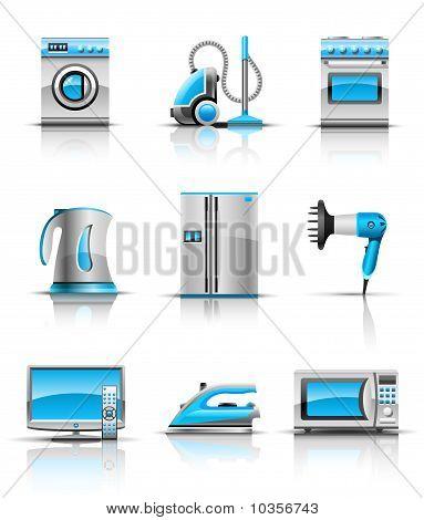 set icon of household appliances