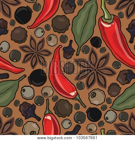 vector seamless pattern with spice