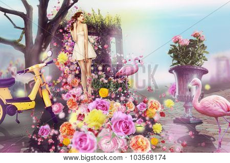 Creative Concept. Visual Arts. Woman And Flowers