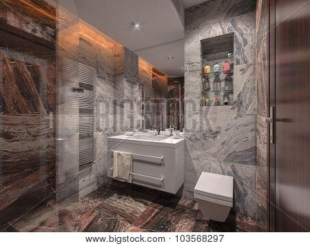 3D Render Bathroom In Gray Color