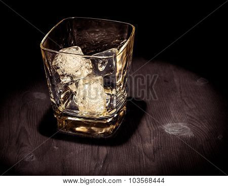 Top Of View Of Glass Of Whiskey On Wood Table, Warm Atmosphere, Time Of Relax With Whisky
