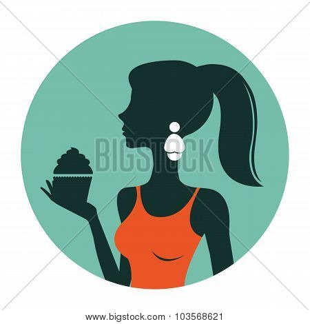An illustration of beautiful woman holding cupcake