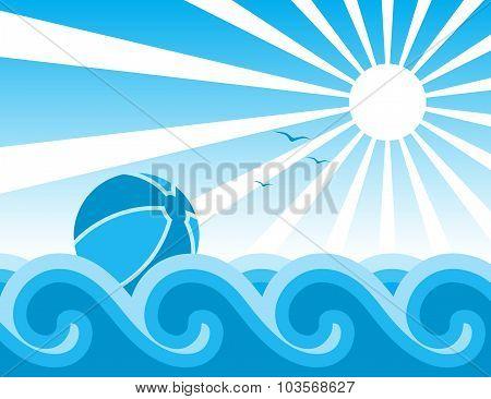 Beach Ball And Waves