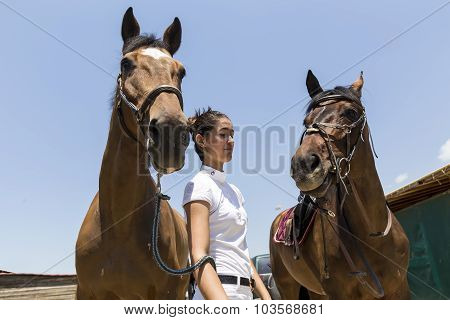 Thessloniki Greece June 14 2015: The ridder and horses before the riding competition with obstacles.
