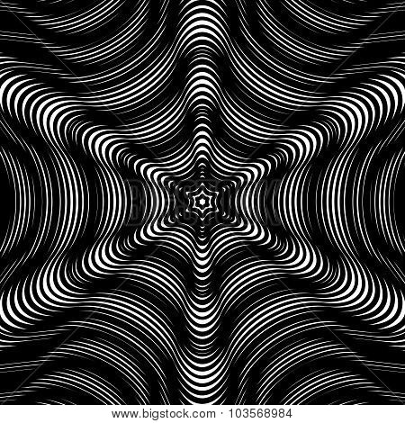 Moire Pattern, Op Art Background. Hypnotic Backdrop With Geometric Black Lines. Abstract Vector