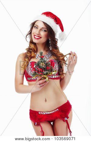 Xmas. Funny Snow-maiden In Santa Claus Costume