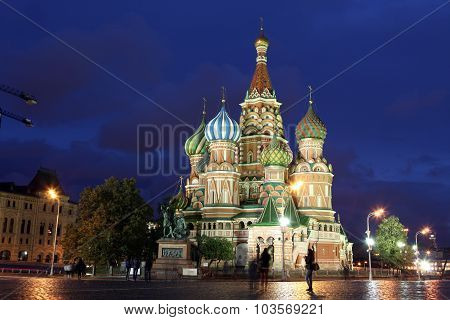 Night View Of Intercession Cathedral St. Basil's On Red Square, Moscow, Russia