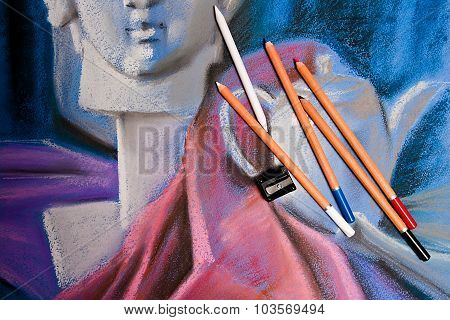 Pastel Pencils And Original Pastel Drawing Of Still Life.