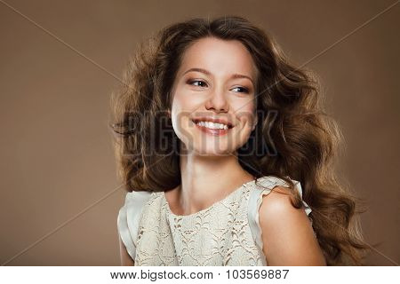 Toothy Smile. Portrait Of Happy Lovely Brunette