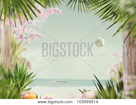 Summer. Tropical Beach In Sunlight