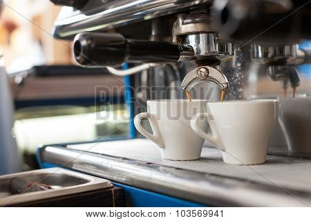 Process of brewing coffee in nice cafeteria