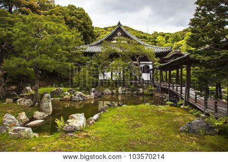 Shinto Buddhist Detail Temple And Garden In Kyoto, Japan