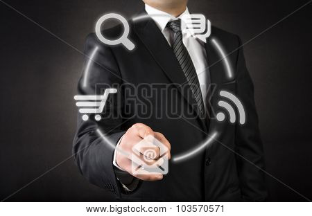 Businessman and touchscreen interface