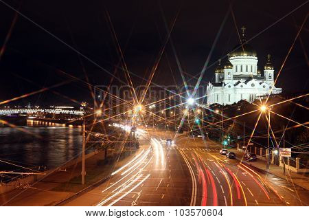 Beautiful Night View Cathedral Of Jesus Christ The Saviour And Moskva River Through Night Traffic An