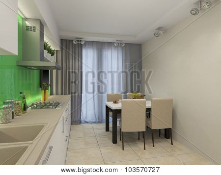 3D Illustration Of Modern White Kitchen