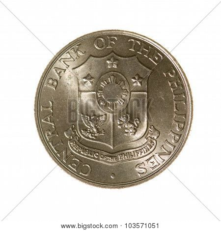 Twenty-five Centavos Coin Philippines Isolated On White Background. Top View.
