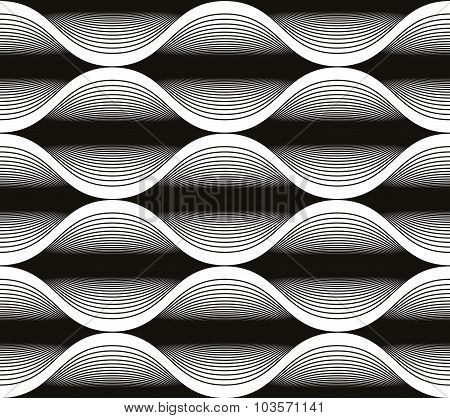 Wave Lines Seamless Pattern, Abstract Geometric Black And White Background, Vector Illustration.