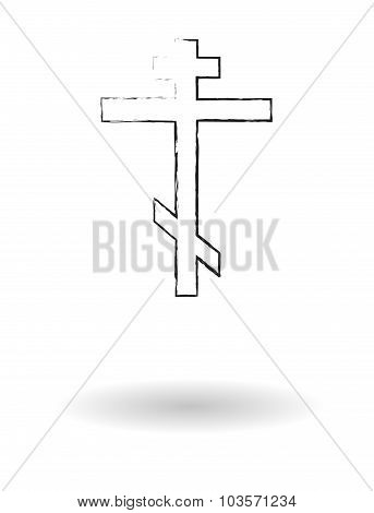 Orthodox Cross Pencil Sketch