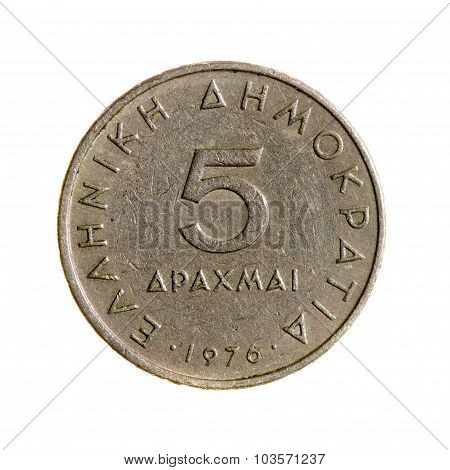 Greece Drachmas Coin Five Isolated On White Background. Top View.