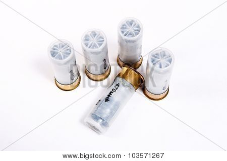 Shotgun Cartridges On White Background.
