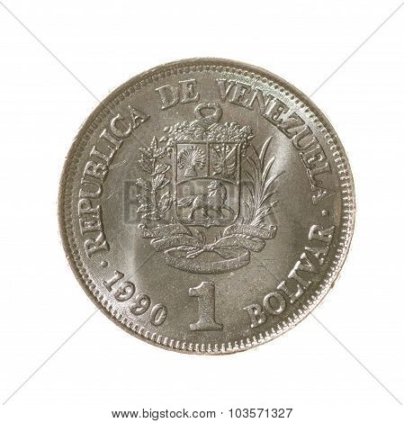 Venezuela Bolivar Coin One Isolated On White Background. Top View.