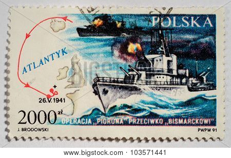 Poland - Circa 2000: A Stamp Printed In Poland Shows Sail Of Warship Accross Atlantyk In 1941, Circa