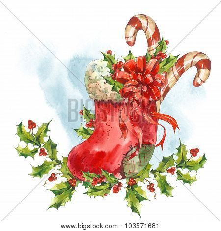 Watercolor greeting card with Christmas socks, ribbon, candy