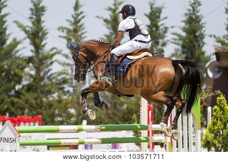 Unknown Rider On A Horse During Competition Matches Riding Round Obstacles