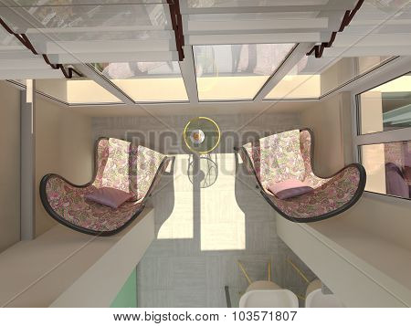 3D Illustration Of Small Apartments In Pastel Colors. Balcony