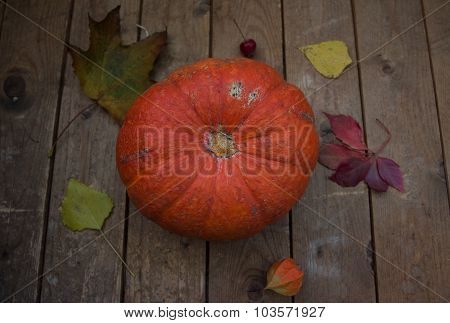 Autumn pumpkin with leaves on wooden board