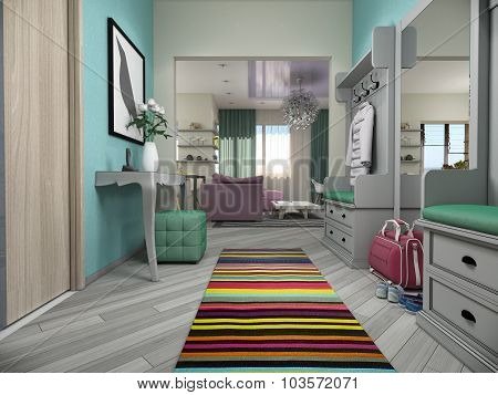 3D Illustration Of Small Apartments In Pastel Colors.lobby And Living Room