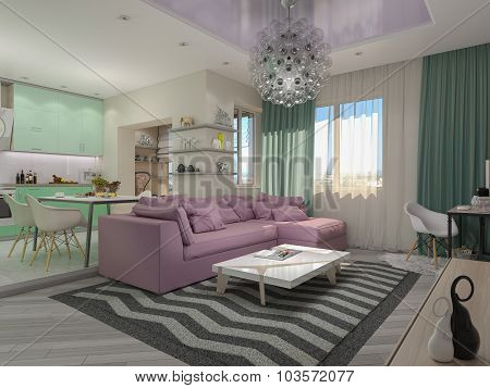 3D Illustration Of Small Apartments In Pastel Colors. Green Modern Kitchen, Living Room