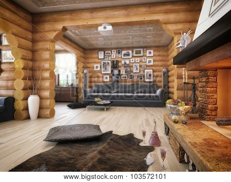 3D Rendering Of A Living Room In The House From Logs