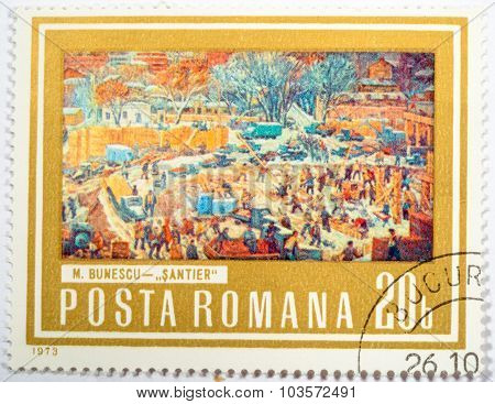 Moscow, Russia - October 3, 2015: A Stamp Printed In Romania, Shows Picture