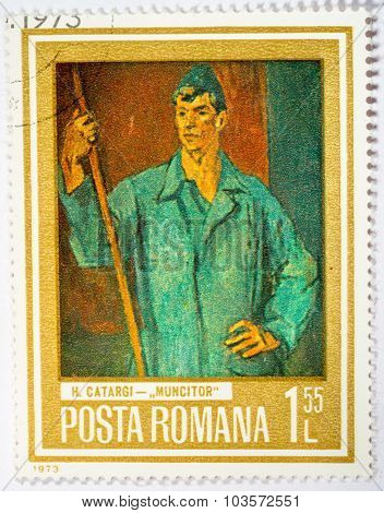 Moscow, Russia - October 3, 2015: A Stamp Printed In Romania From The