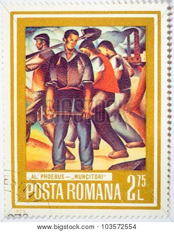 Moscow, Russia - October 3, 2015: A Stamp Printed In The Romania Shows A Working Men, Circa 1973