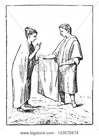 Merchant of canvas, vintage engraved illustration.