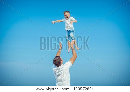 Father And His Son Having Fun