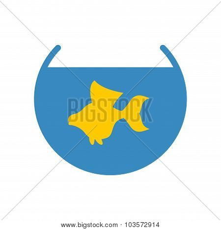 Goldfish In An Aquarium Vector Icon. Yellow Fish Fulfills Desires.