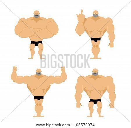Set Of Strong Men. Healthy Guys With Big Muscles. Bodybuilders In Different Poses. Fitness Models. B