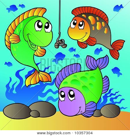 Three fishes and fishing hook